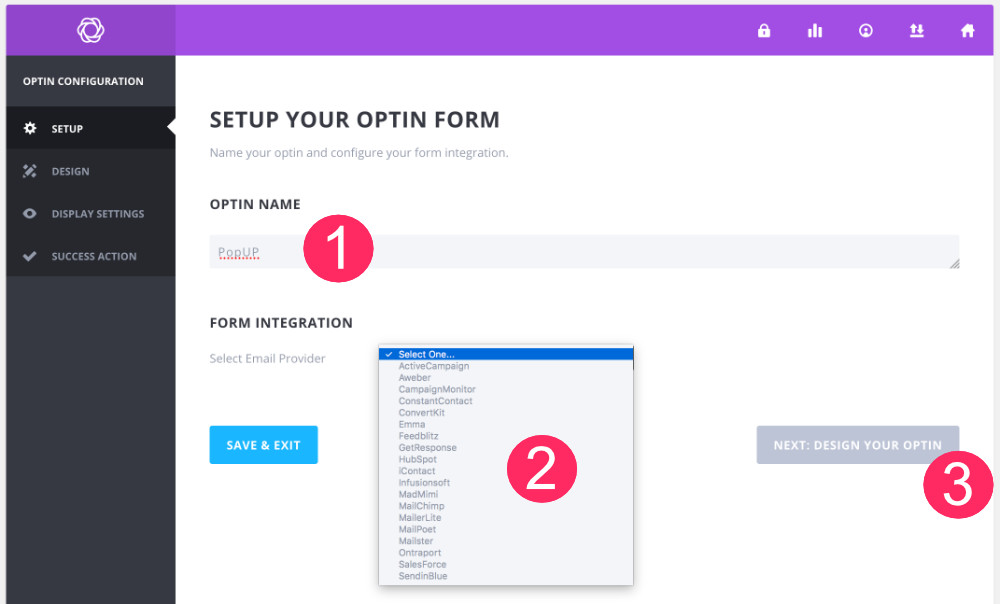 Bloom étape 2 : connecter un email provider