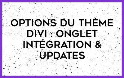 Comment configurer les onglets Intégration et Updates des options du thème Divi ?