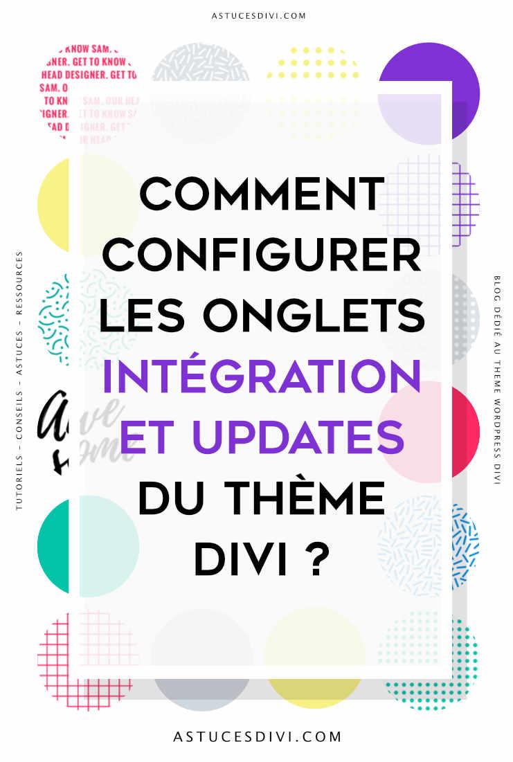 onglet intégration et update de Divi