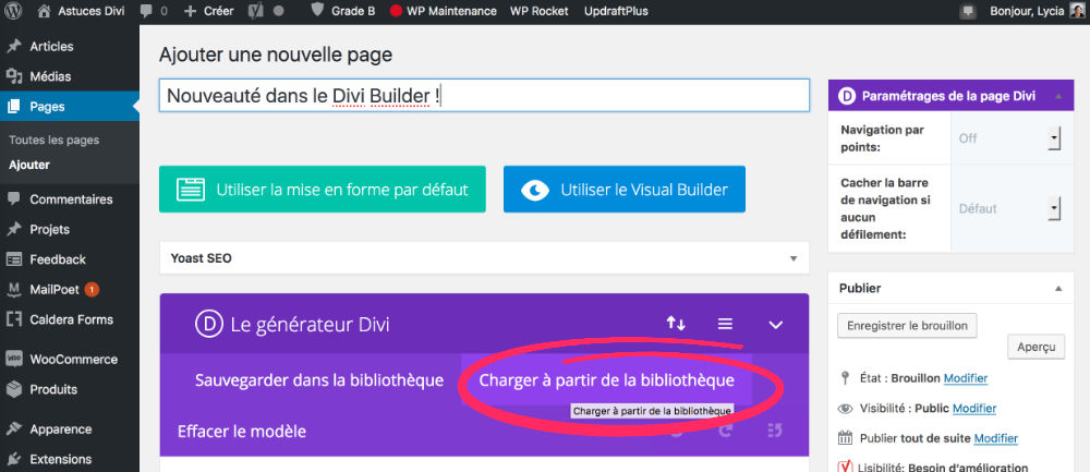 Charger les packs de layouts Divi