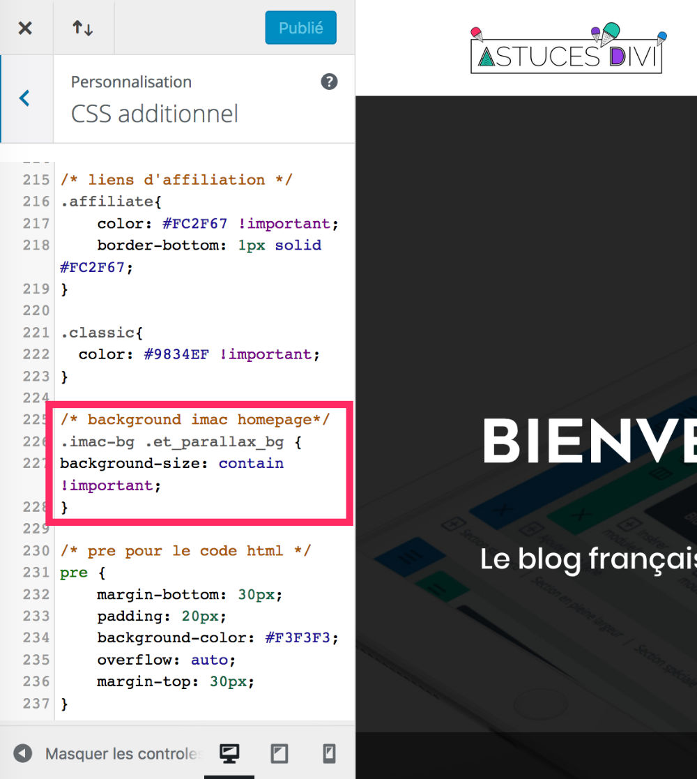 CSS additionnel pour que le SCROLL soit réussi