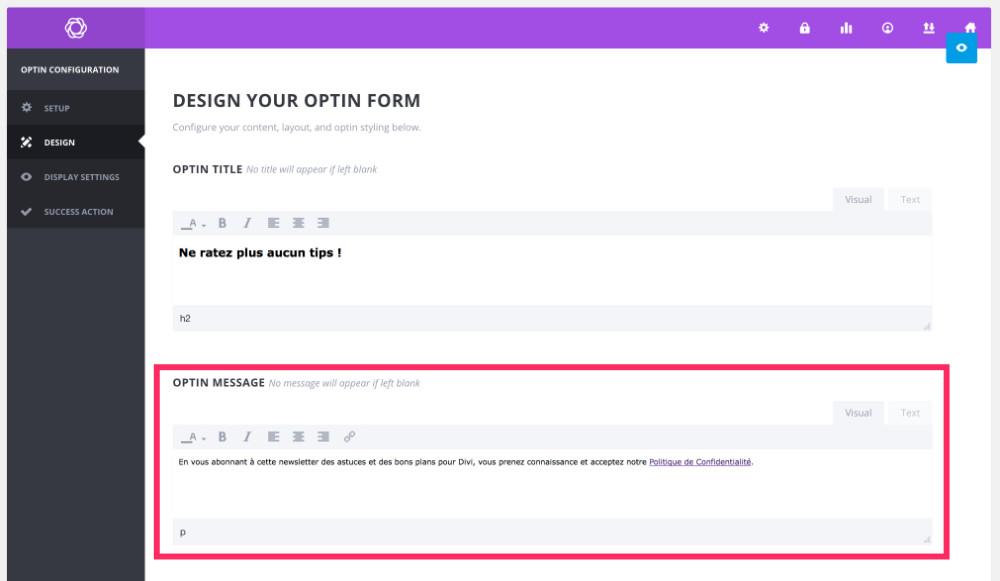 Bloom OptIn Message