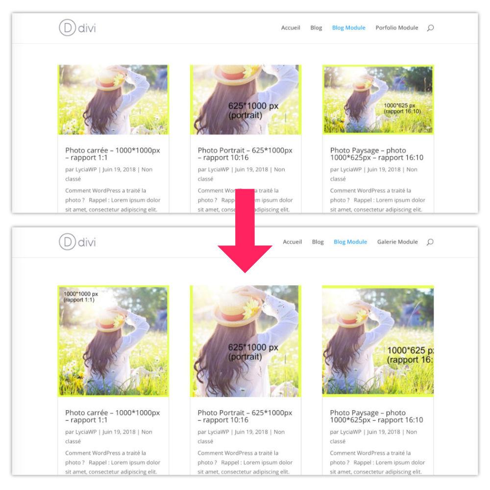taille des images de Divi personnalisées pour le module blog