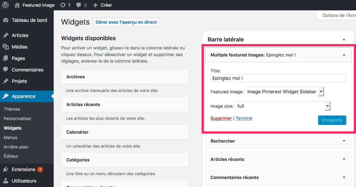 featured image widget dans la sidebar