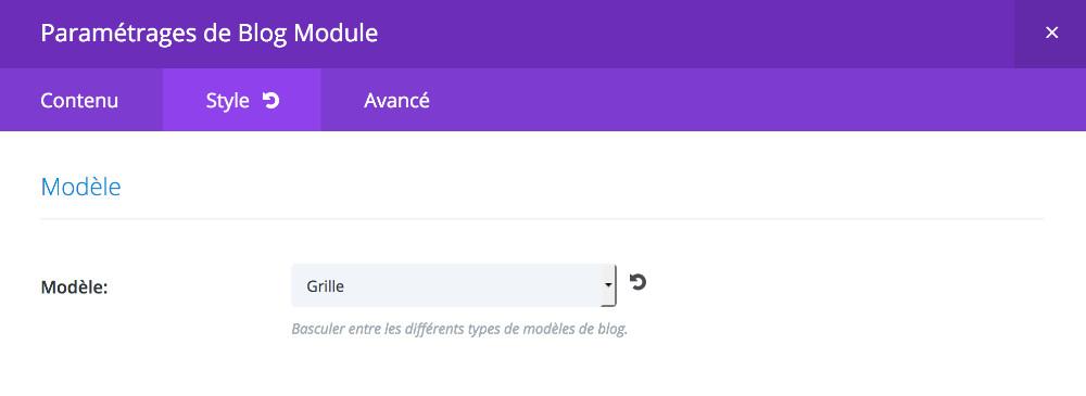 module blog de Divi en mode grille
