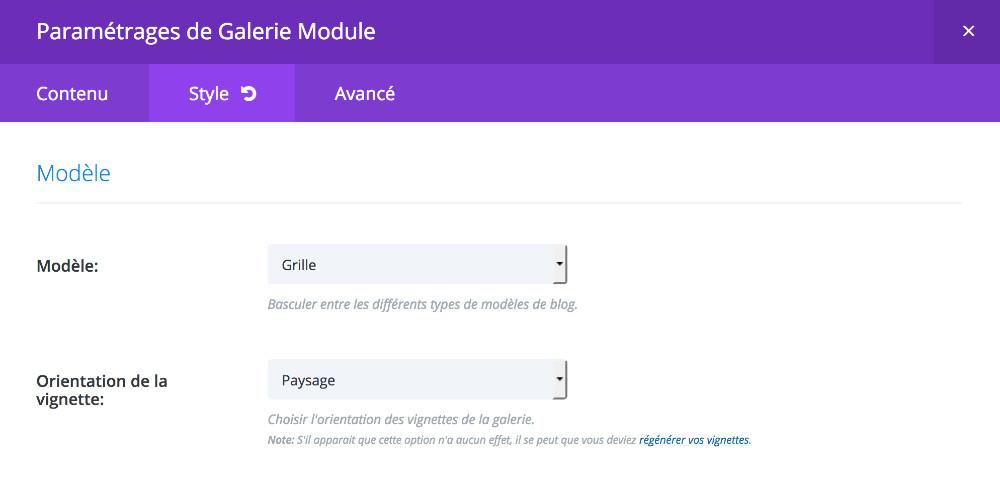 "module galerie en mode ""grille - paysage"""