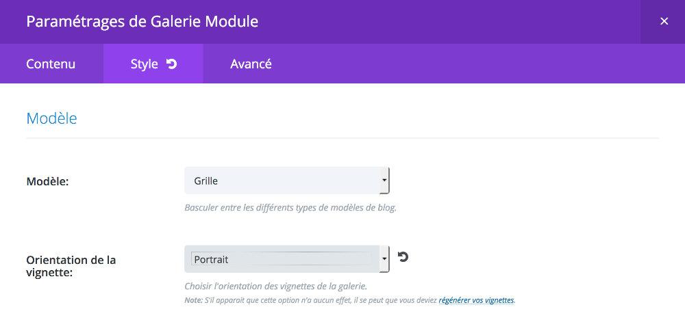"Module Galerie en mode ""grille - portrait"""