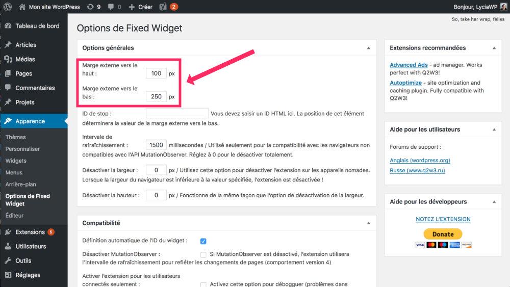 réglages du plugin Q2W3 Fixed Widget