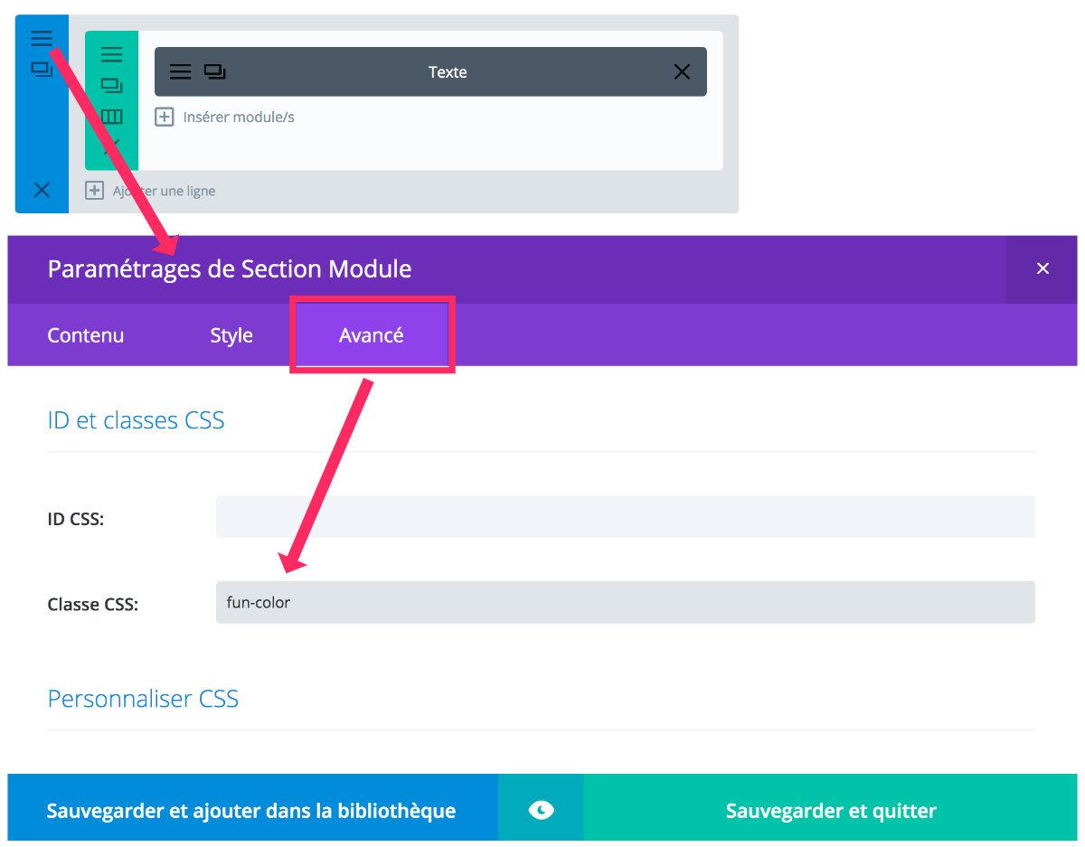 Ajouter une classe CSS à la section standard de Divi