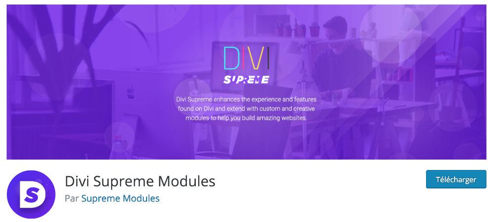 Plugin gratuit Divi : Divi Supreme Modules