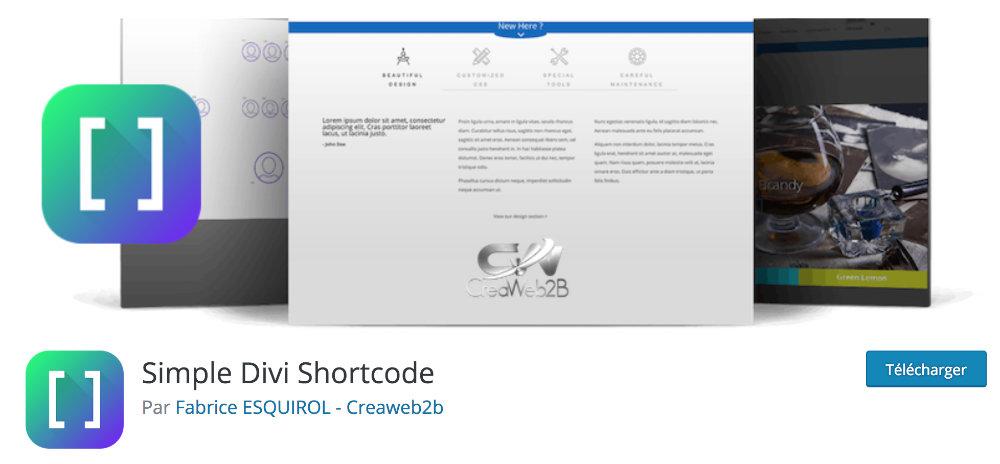 Plugin gratuit Divi : Simple Divi Shortcode