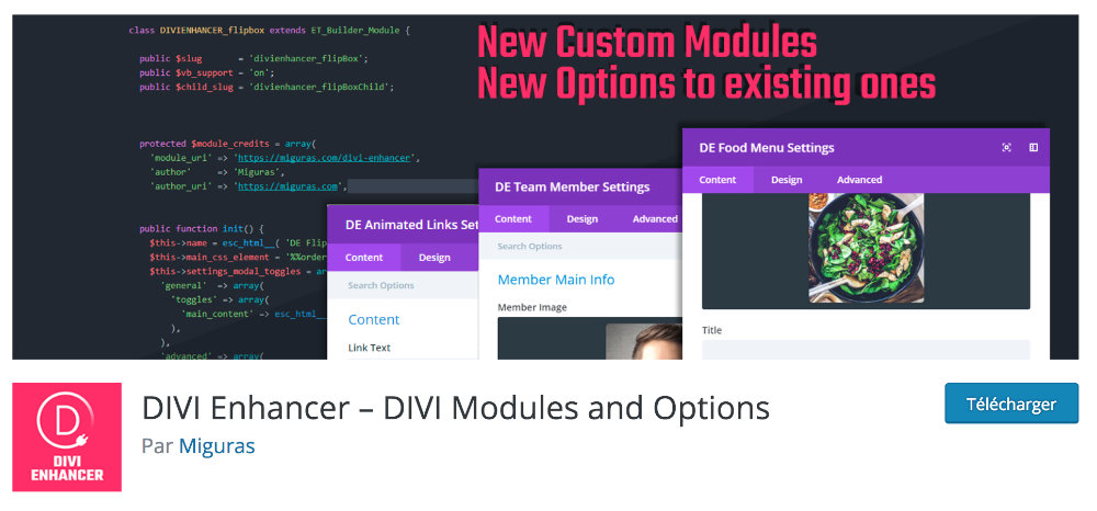 Plugin gratuit Divi : Divi Enhancer