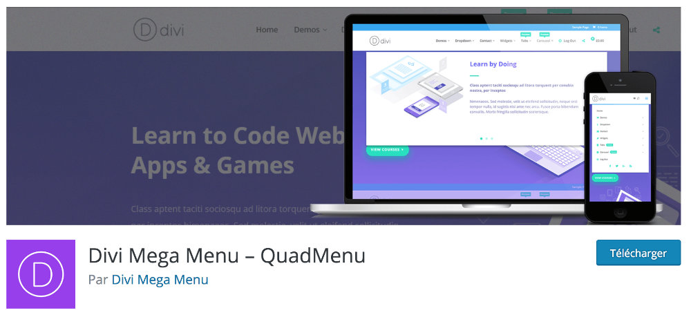 Plugin gratuit Divi : Quad Menu