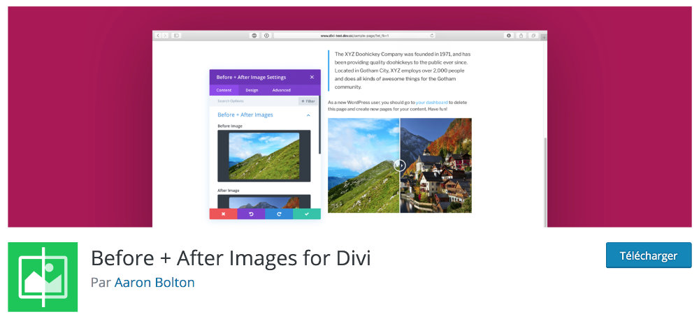 Plugin gratuit Divi : Before and After