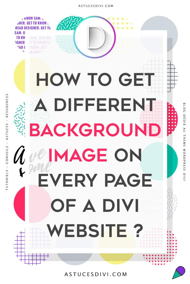 A background image different on each page Divi