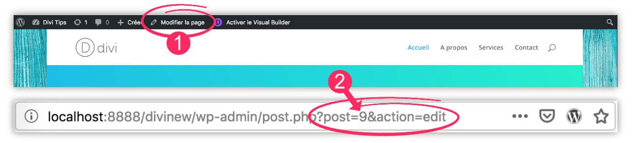 Obtenir l'identifiant d'une page