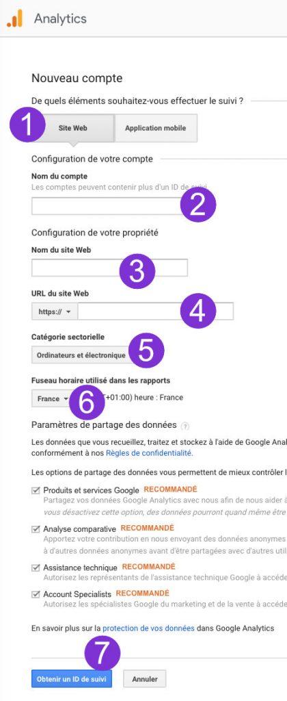 Obtenir le code de suivi Google Analytics