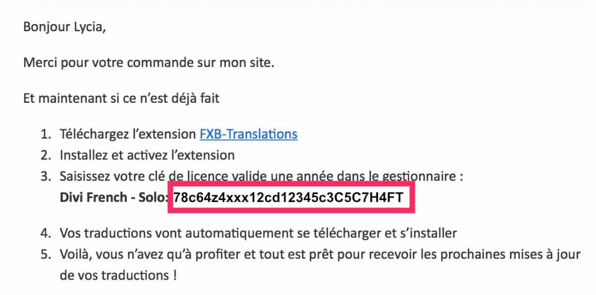 Licence Divi French : Divi en français