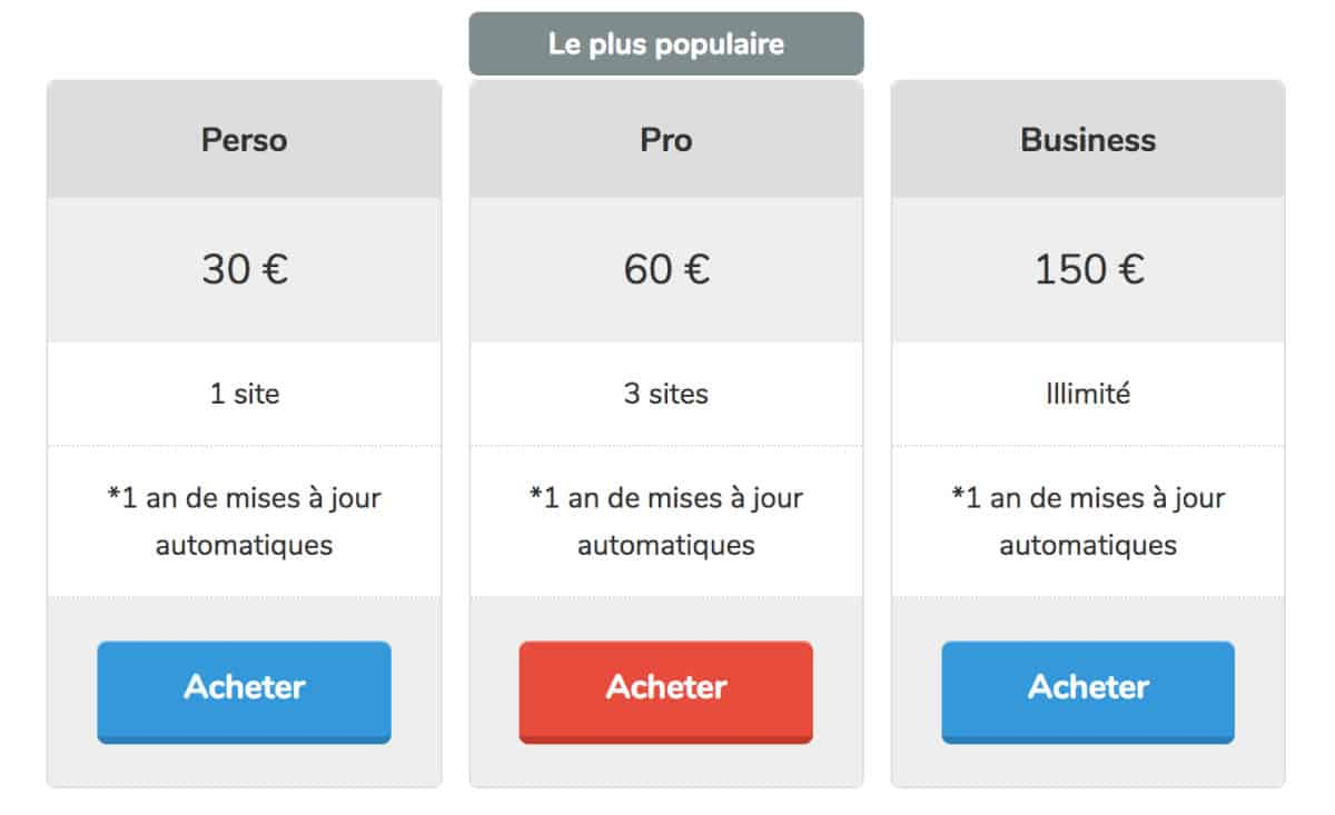 tarifs du plugin Divi French