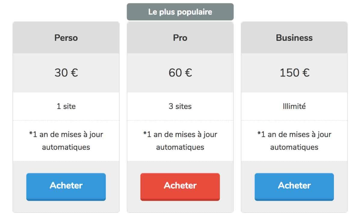 tarifs du plugin Divi French