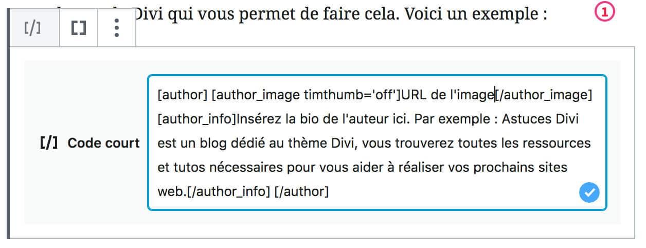 Shortcode Divi pour ajouter une bio de l'auteur