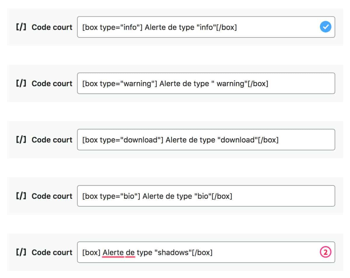 Les shortcodes à insérer dans Gutenberg