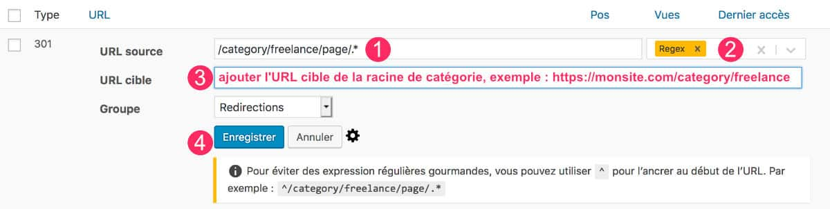 Redirections après suppression de la pagination