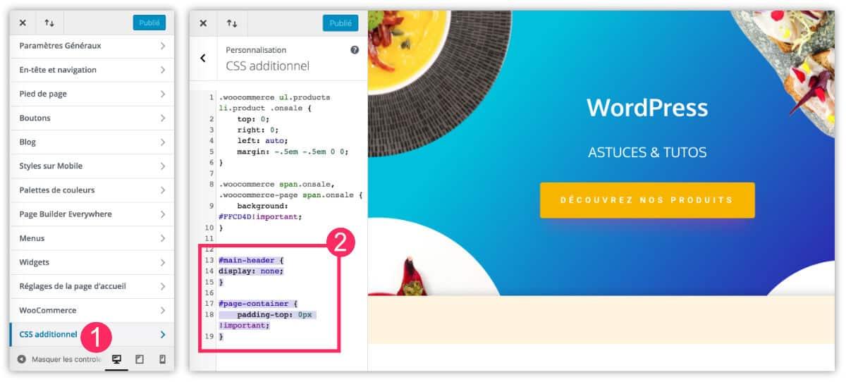 supprimer le menu de Divi sur tout le site