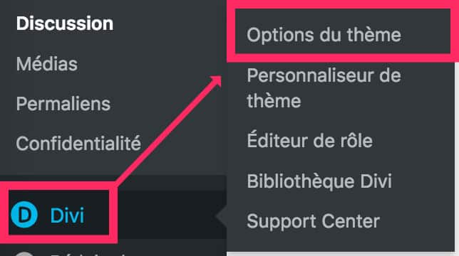 Divi - Options du thème