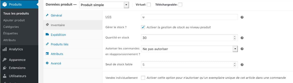 gestion des stock WooCommerce