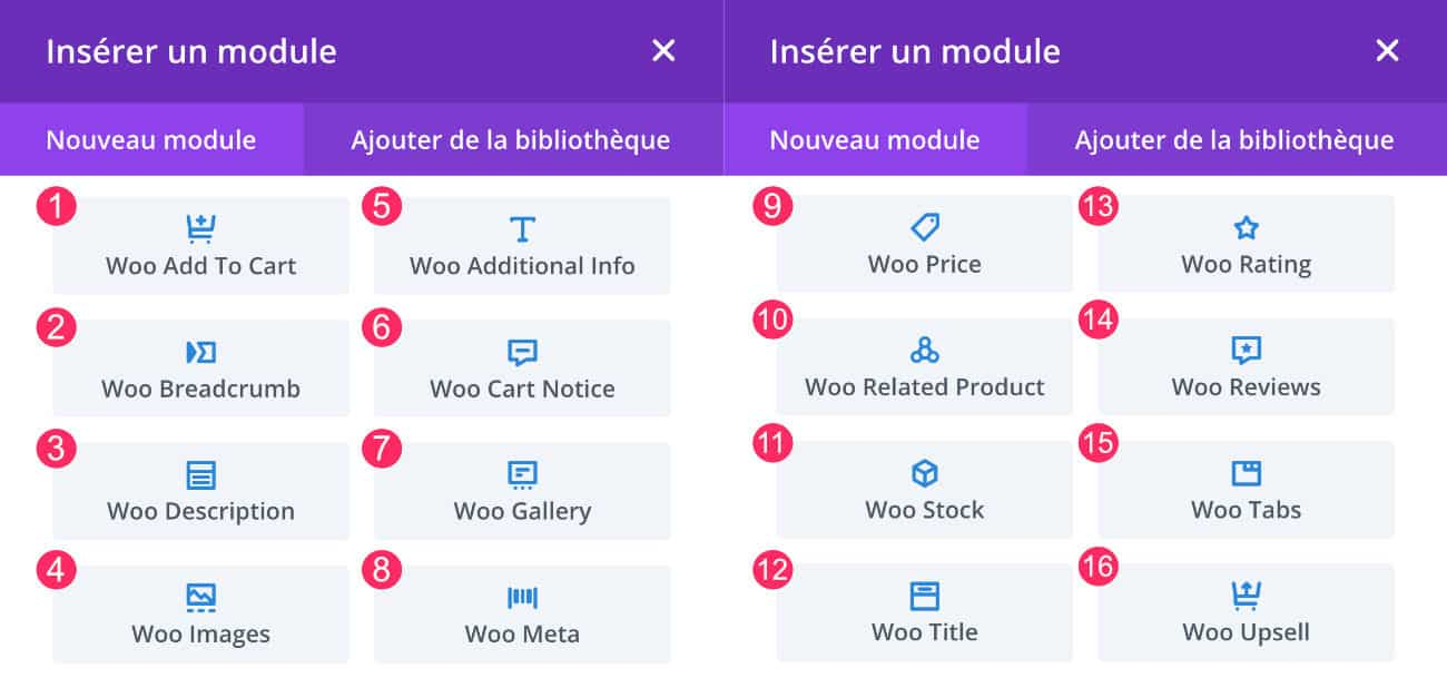 Les modules du Divi Builder pour WooCommerce