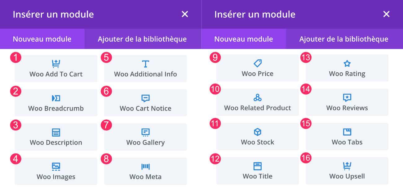 Les modules du Divi Builder pour WooCommerce