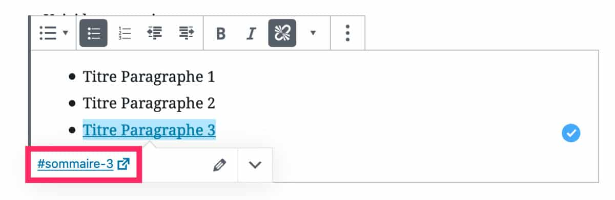 créer le sommaire avec une liste Gutenberg