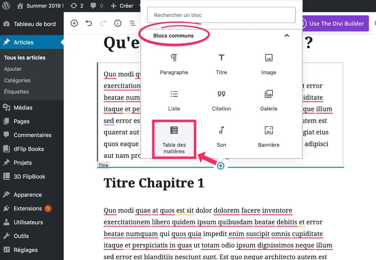 Insertion de la table des matière avec Gutenberg