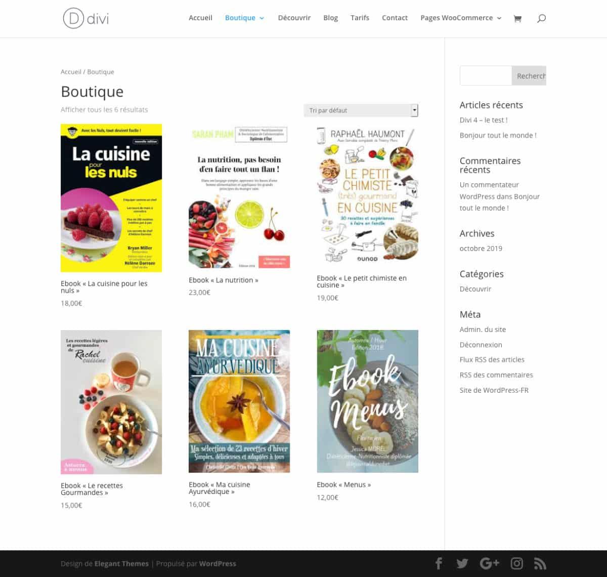 page boutique classique