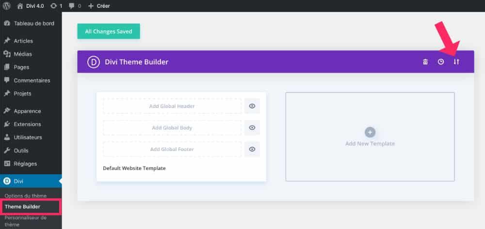 Onglet Theme Builder > Portabilité