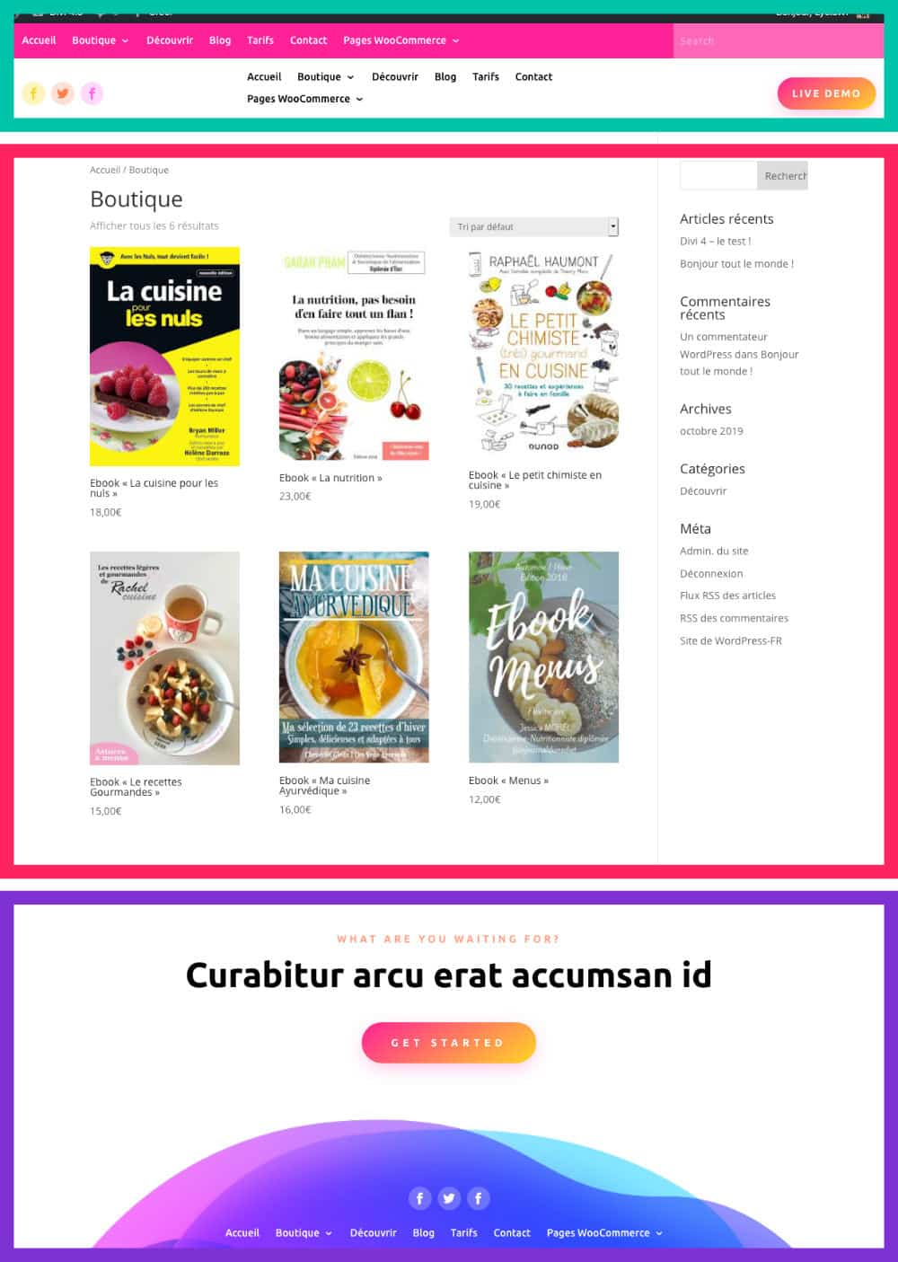 page boutique header + footer custom