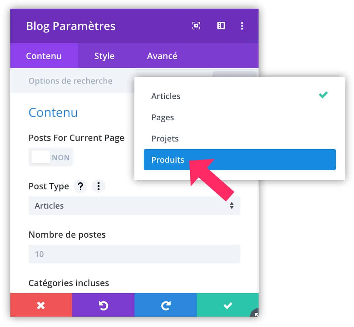 "définir le ""post type"" du Blog Module"