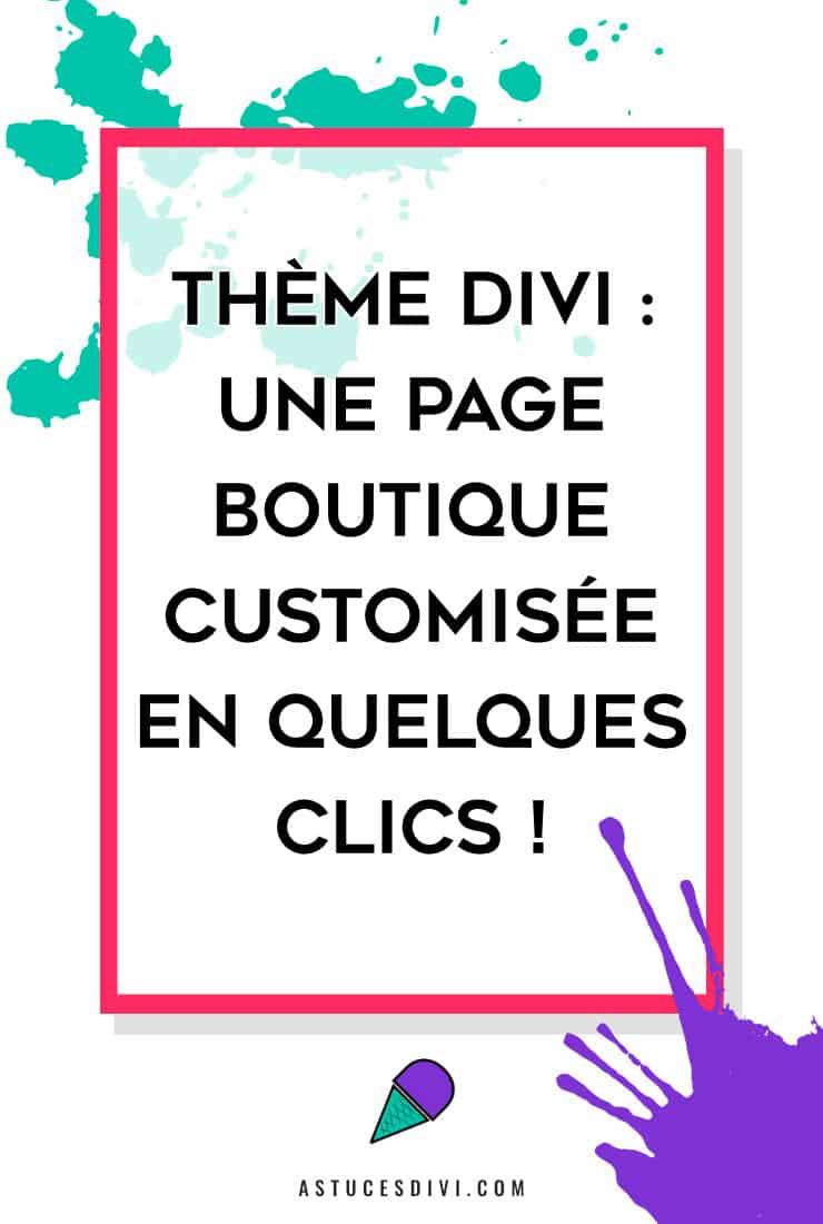 page boutique personnalisée avec Divi
