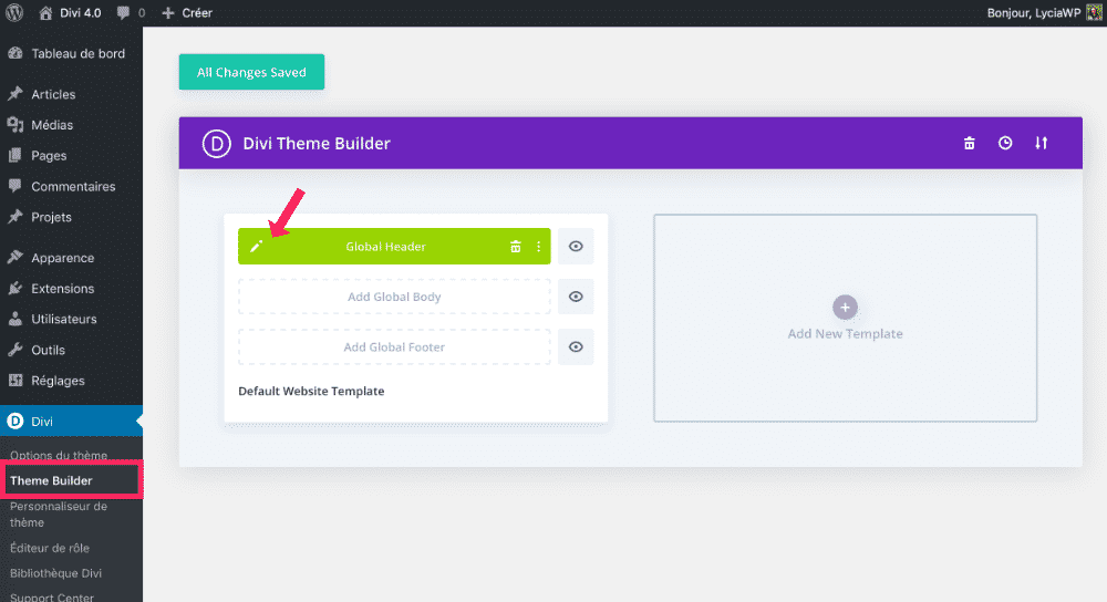Templates via l'onglet Theme Builder