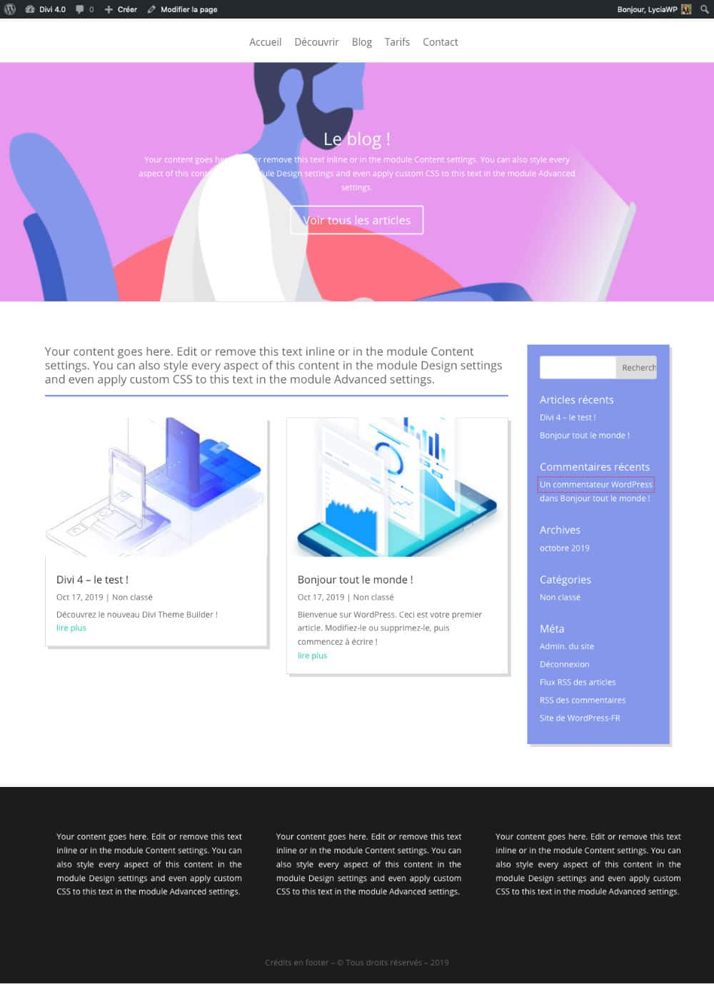 Divi Theme Builder exemple n°2