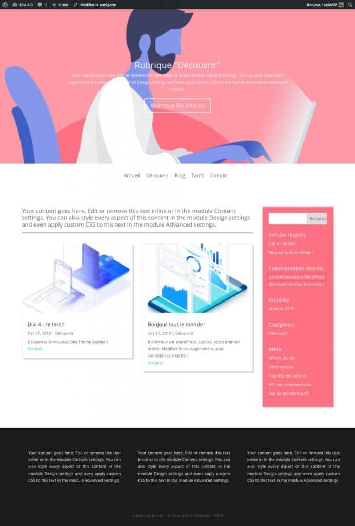layout pour la page d'archive de catégorie
