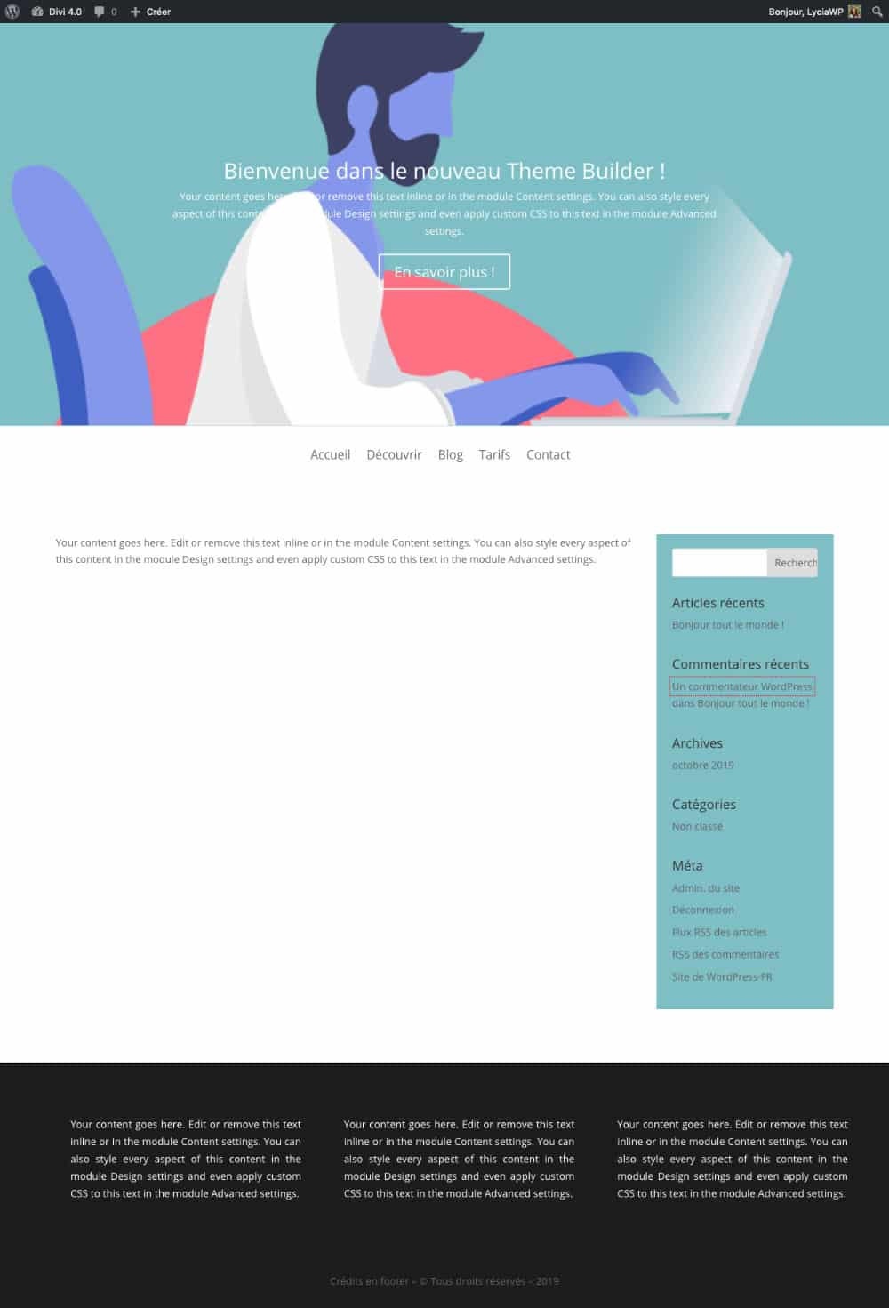 Divi Theme Builder exemple n°1