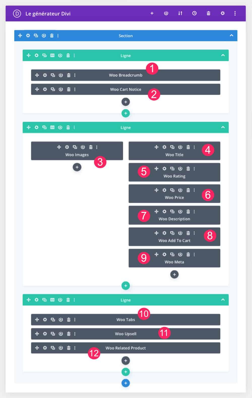 Divi modules constituant une fiche produit