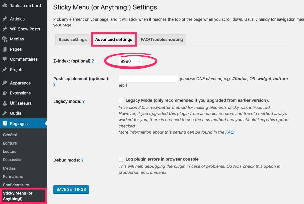 Sticky Menu - advanced setting