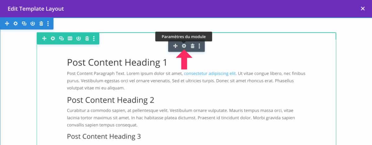 Paramètres module Post Content