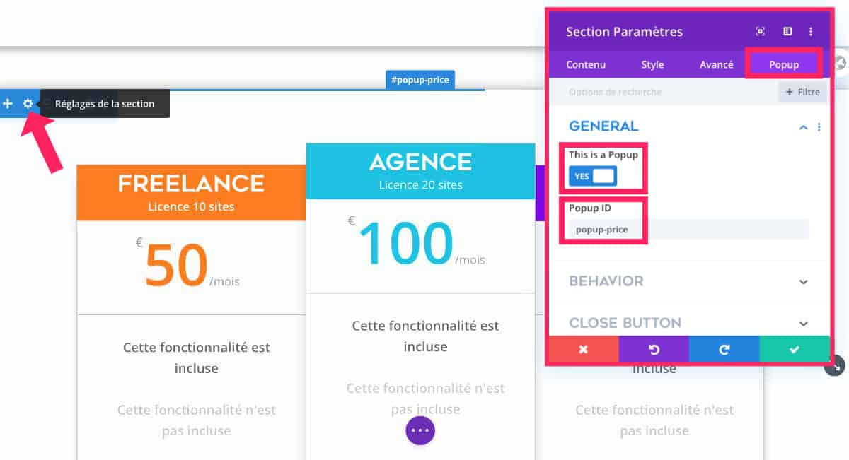 Convertir une section Divi en popup