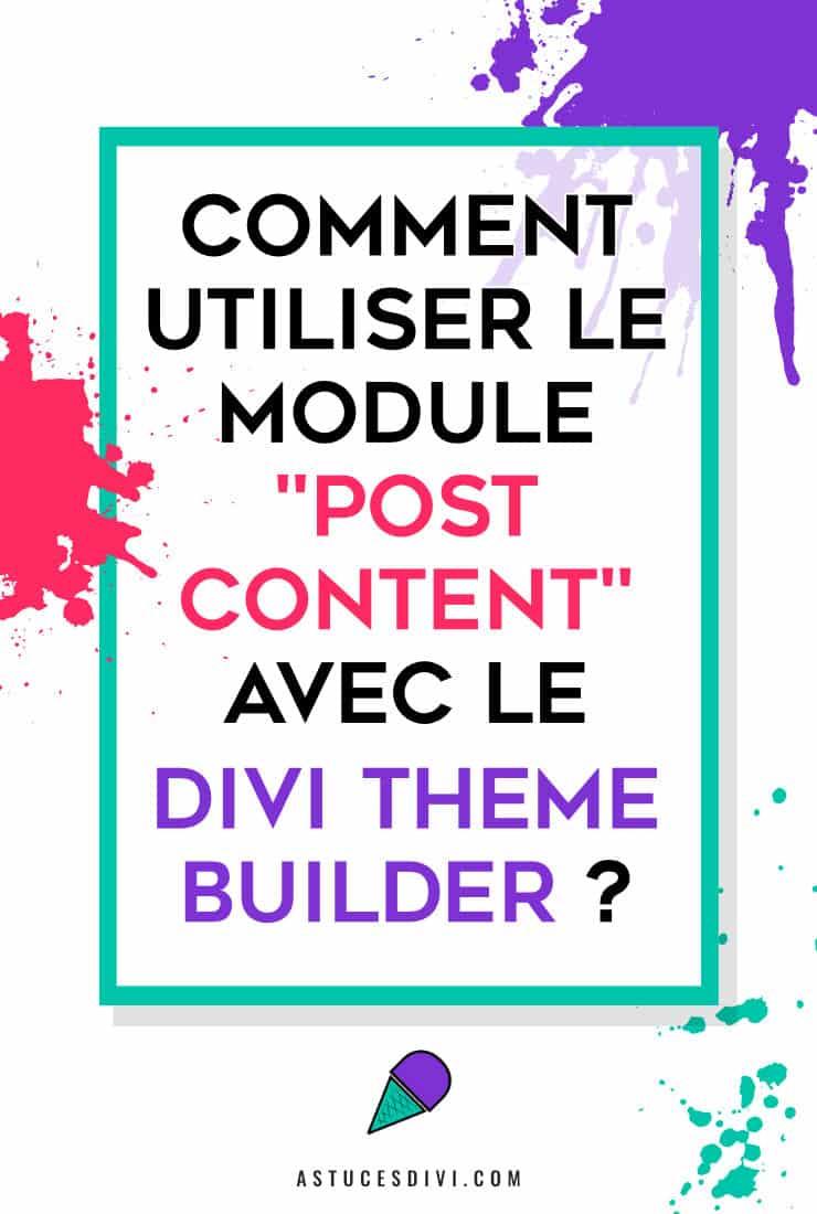Module Publier un Contenu (Post Content) de Divi