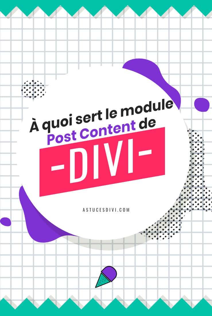 Utilisation du module Post Content (module Publier un Contenu)