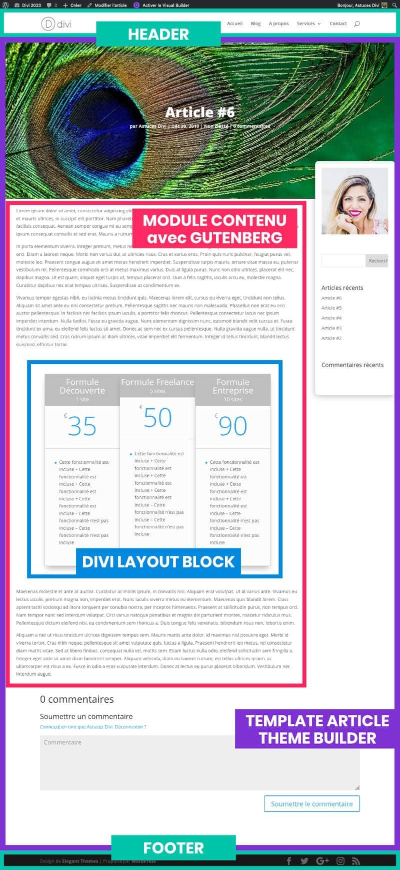 Mise en page faite avec Gutenberg et Divi Layout Block